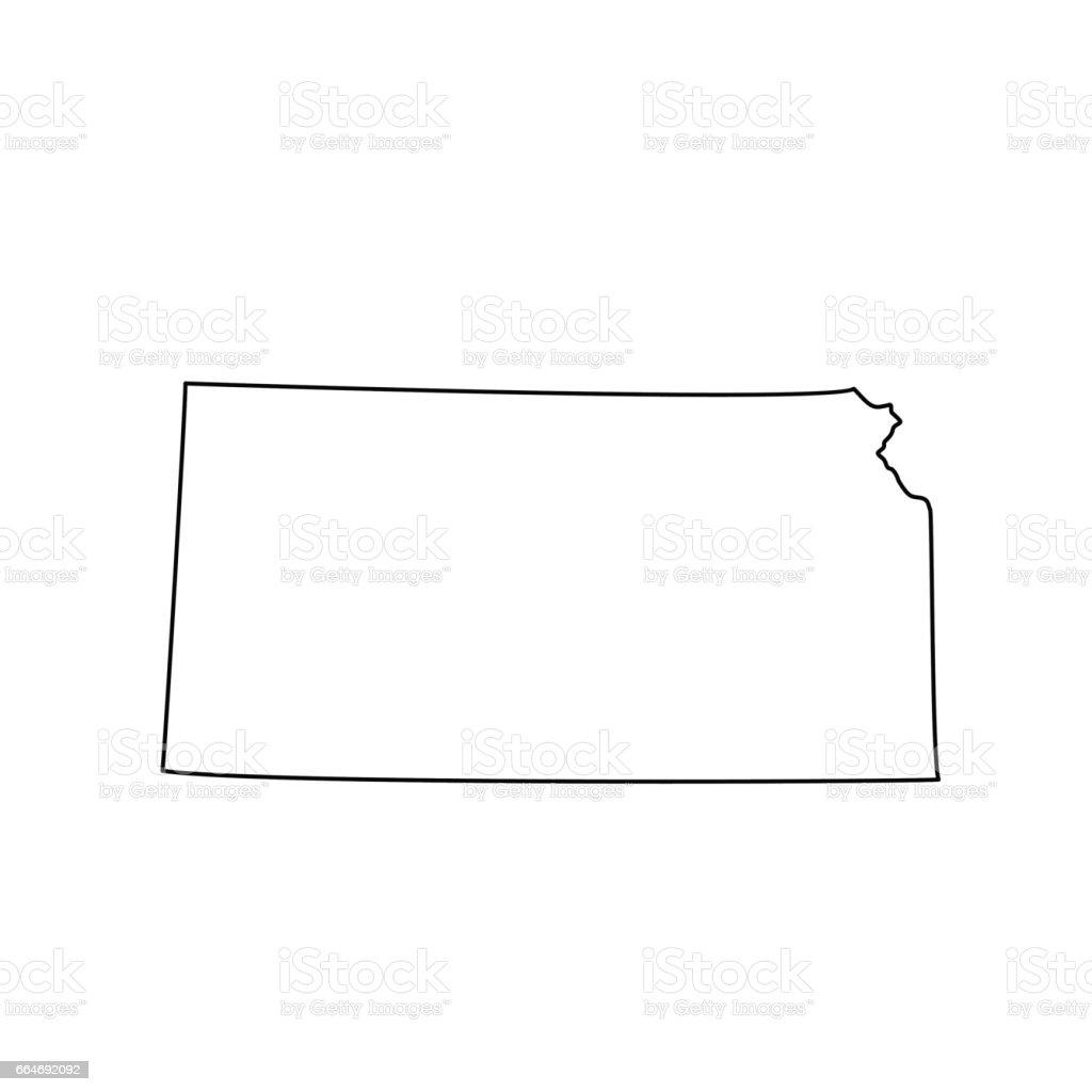 U.S. state Kansas black map on white background. vector art illustration