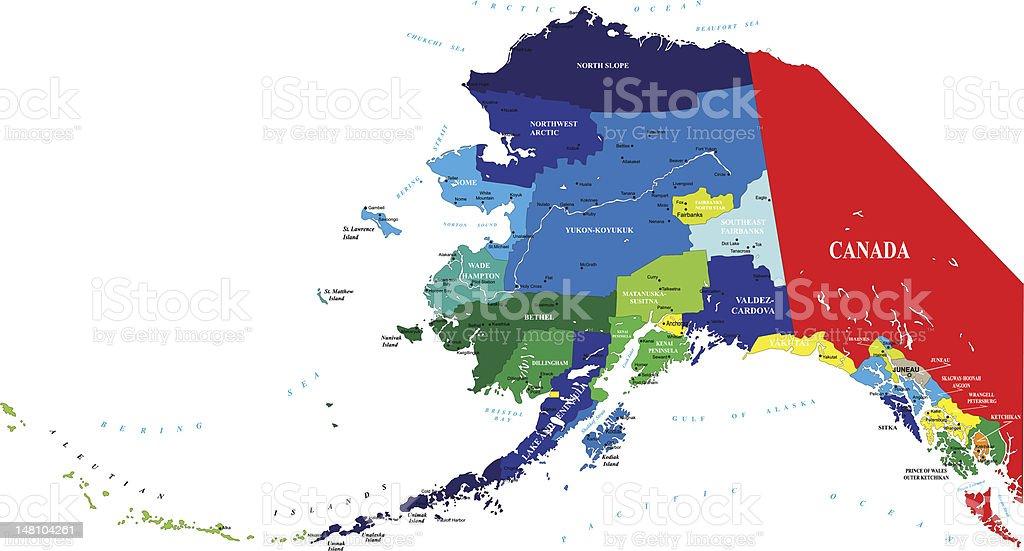 State of Alaska map vector art illustration