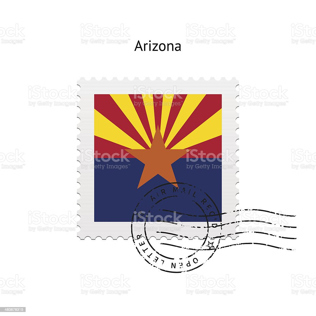 State of Arizona flag postage stamp. royalty-free stock vector art