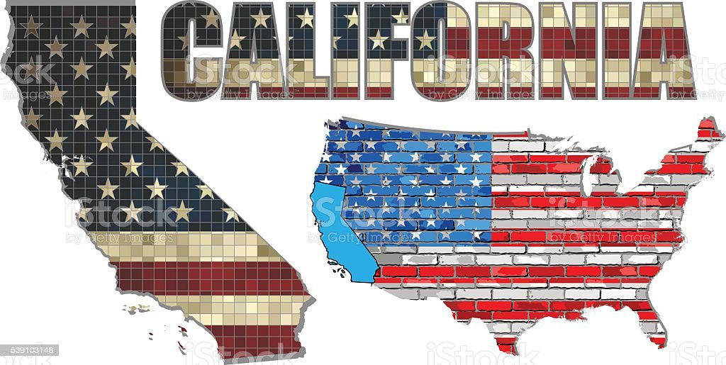 USA state of California on a brick wall vector art illustration