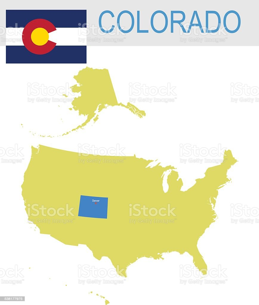 USA state Of Colorado's map and Flag vector art illustration