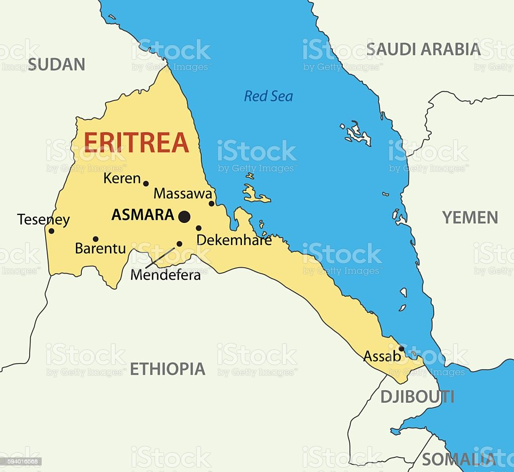 State of Eritrea - vector map vector art illustration