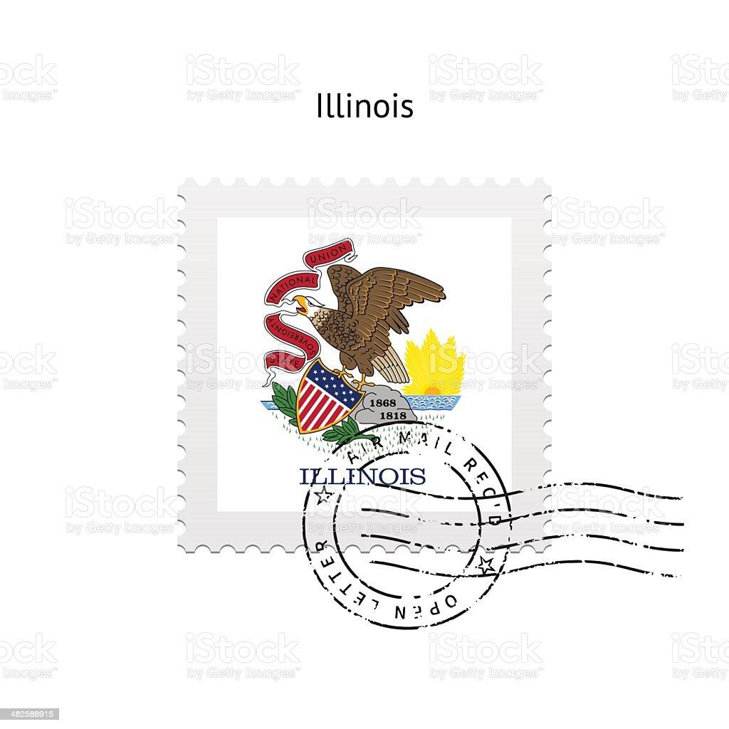 State of Illinois flag postage stamp. vector art illustration
