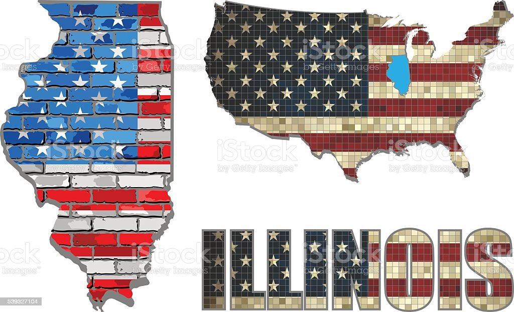 USA state of Illinois on a brick wall vector art illustration
