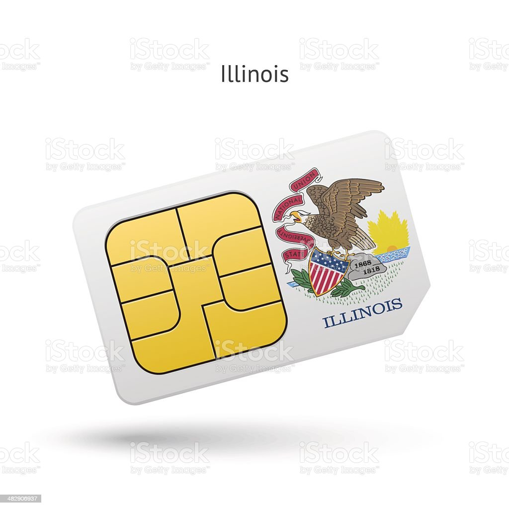 State of Illinois phone sim card with flag. vector art illustration