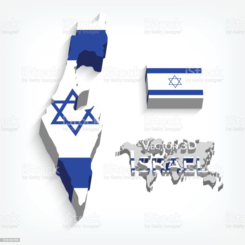 State of Israel 3D ( flag and map )( transportation and tourism concept ) vector art illustration