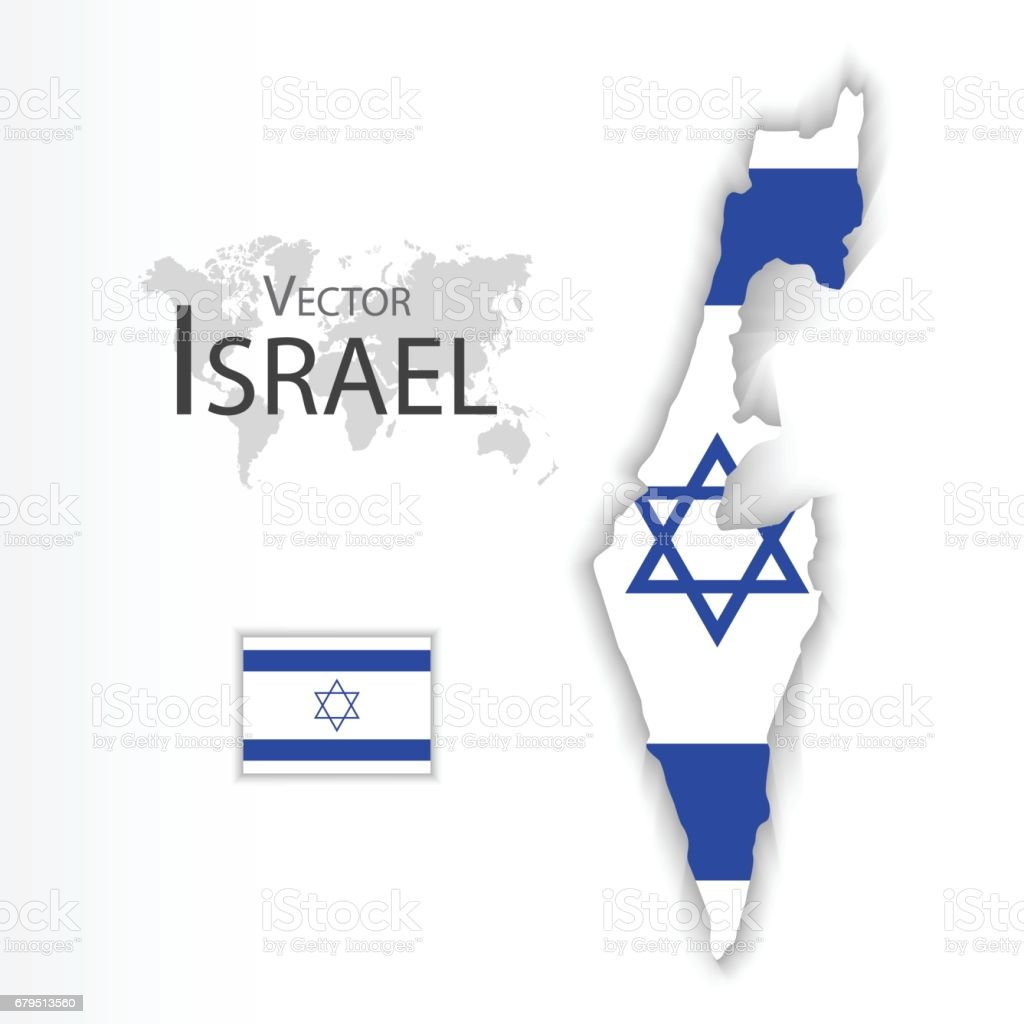 State of Israel ( flag and map )( transportation and tourism concept ) vector art illustration