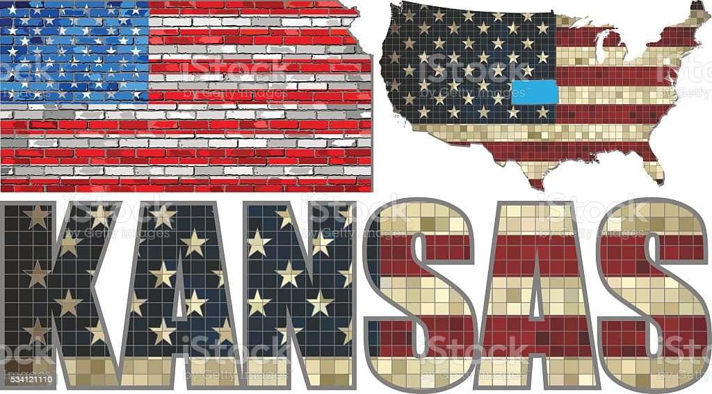 USA state of Kansas on a brick wall vector art illustration