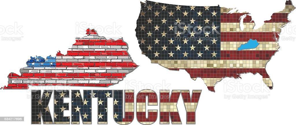 USA state of Kentucky on a brick wall vector art illustration