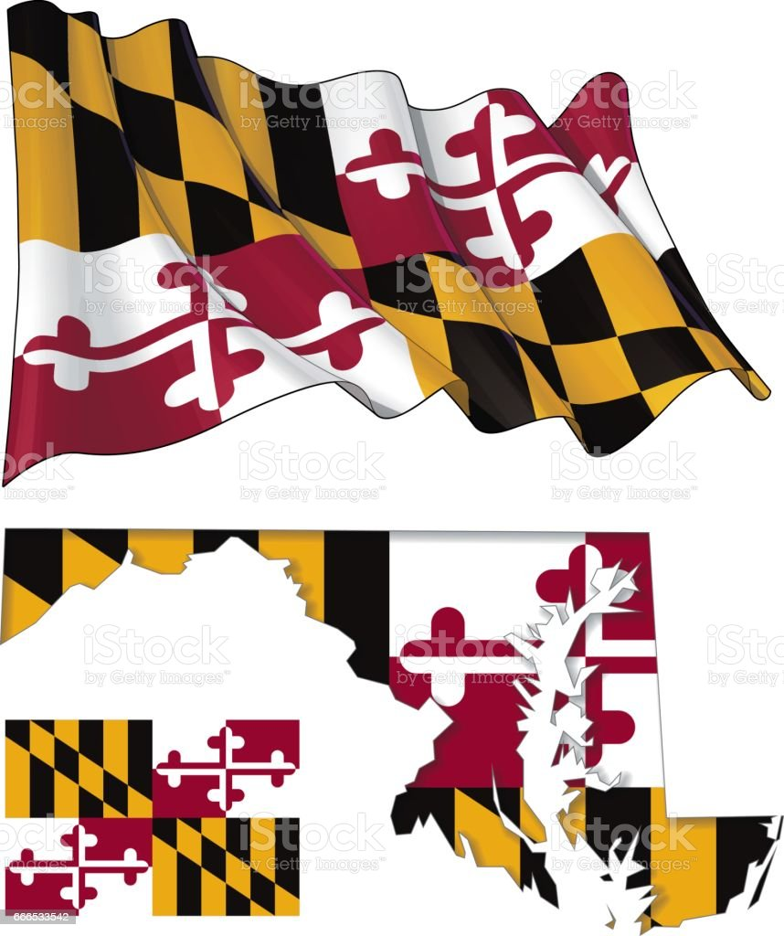 State of Maryland - Map Waving Flat Flag vector art illustration