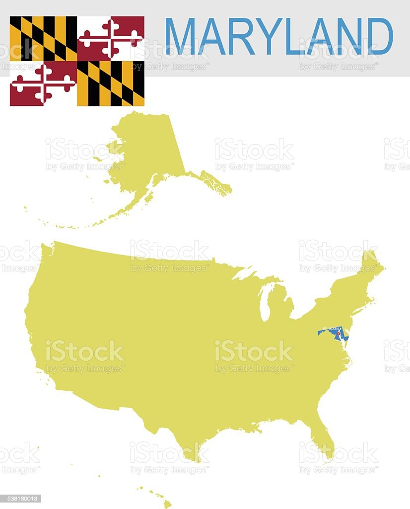 USA state Of Maryland's map and Flag vector art illustration