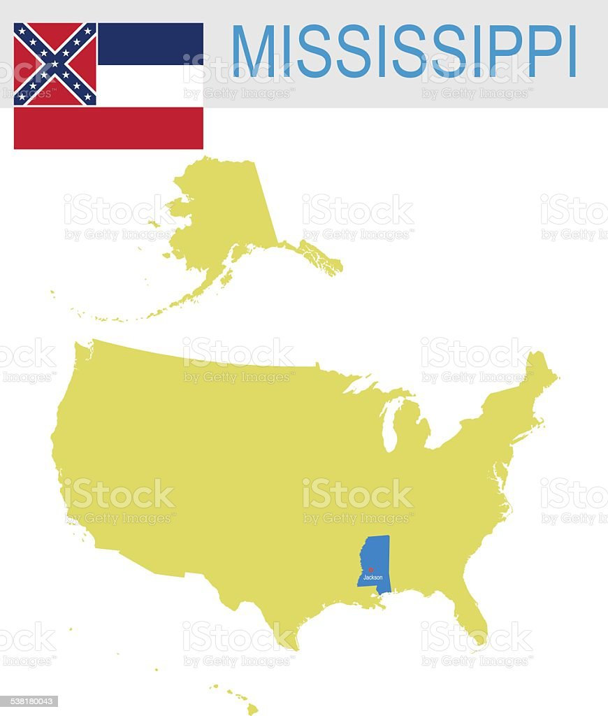 USA state Of Mississippi's map and Flag vector art illustration