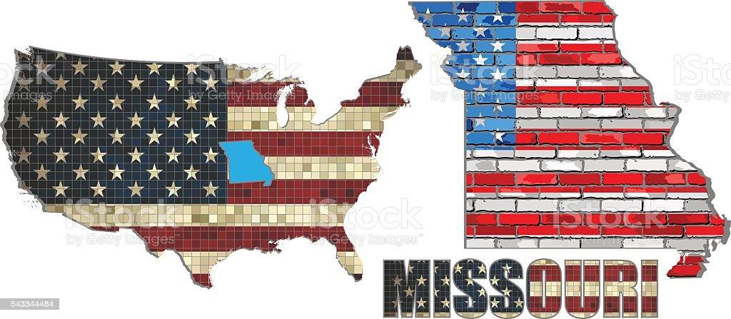 USA state of Missouri on a brick wall vector art illustration