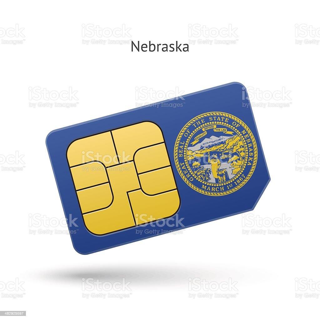 State of Nebraska phone sim card with flag. royalty-free stock vector art