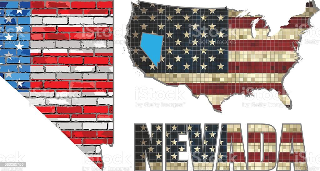 USA state of Nevada on a brick wall vector art illustration