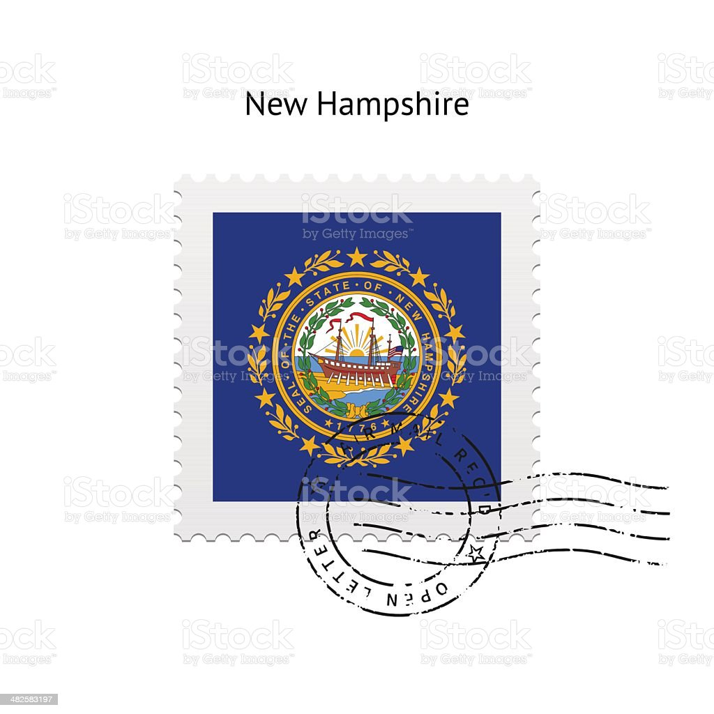 State of New Hampshire flag postage stamp. vector art illustration