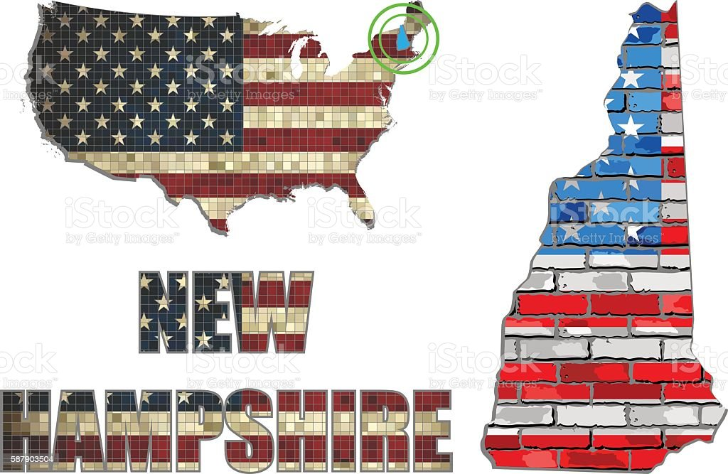 USA state of New Hampshire on a brick wall vector art illustration