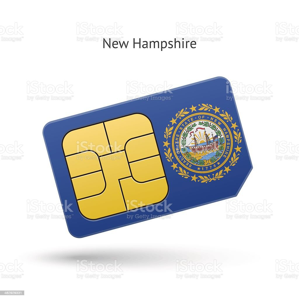 State of New Hampshire phone sim card with flag. vector art illustration