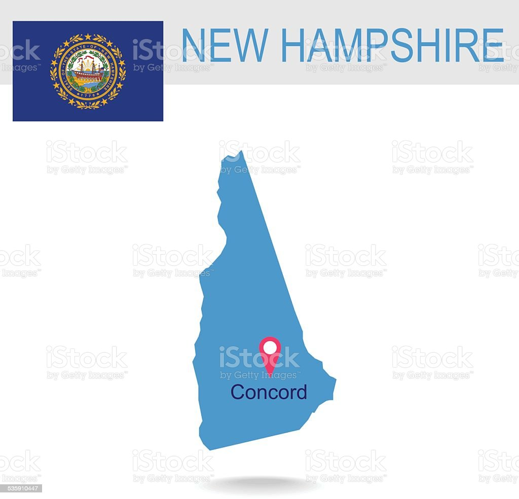 USA state Of New Hampshire's map and Flag vector art illustration