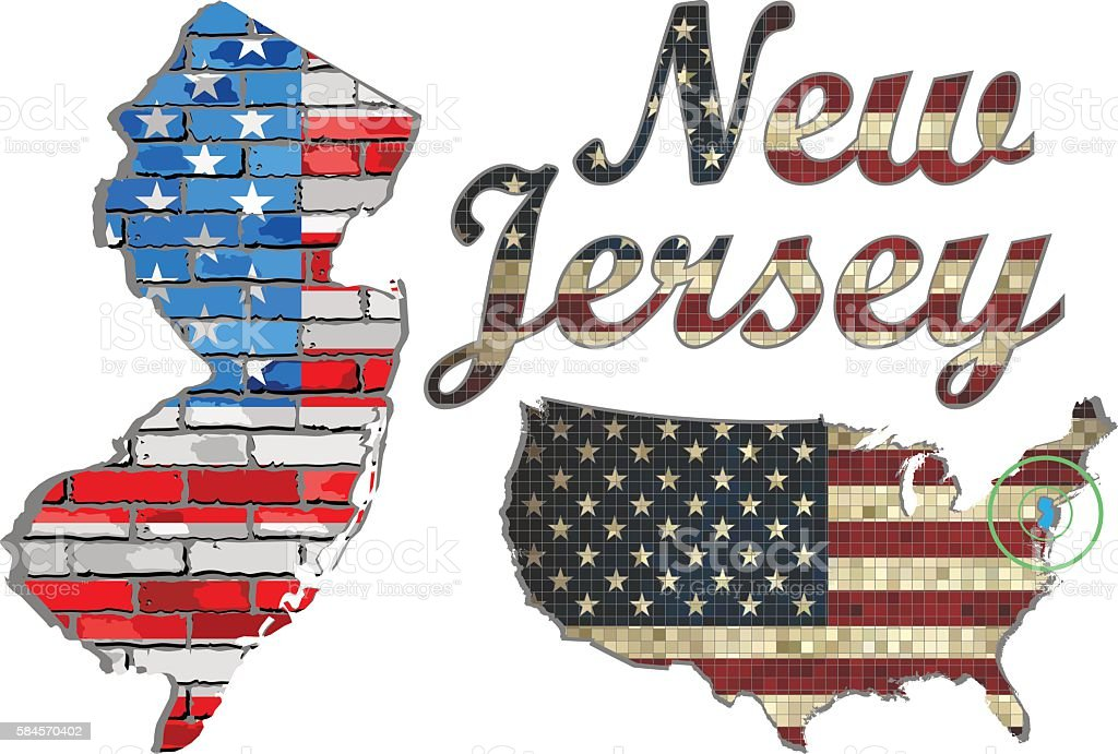 USA state of New Jersey on a brick wall vector art illustration