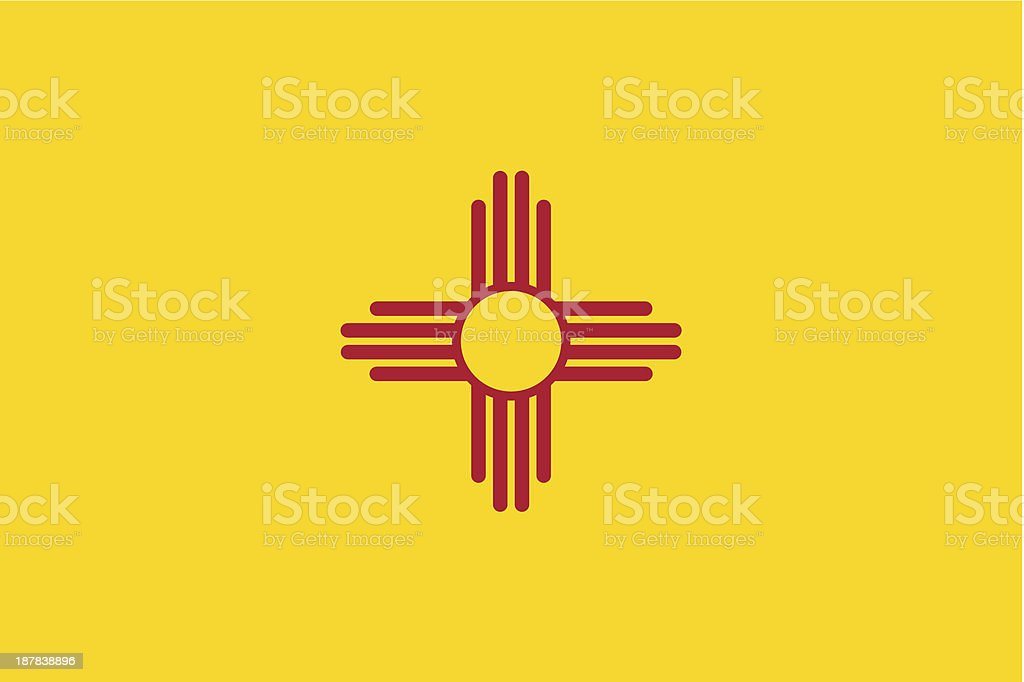 State of New Mexico Flag which is yellow and red shaped vector art illustration