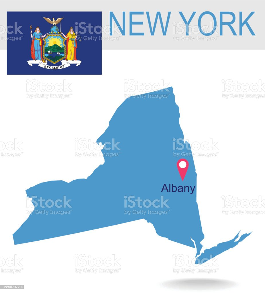 USA state Of New York's map and Flag vector art illustration