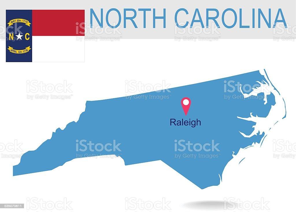 USA state Of North Carolina's map and Flag vector art illustration