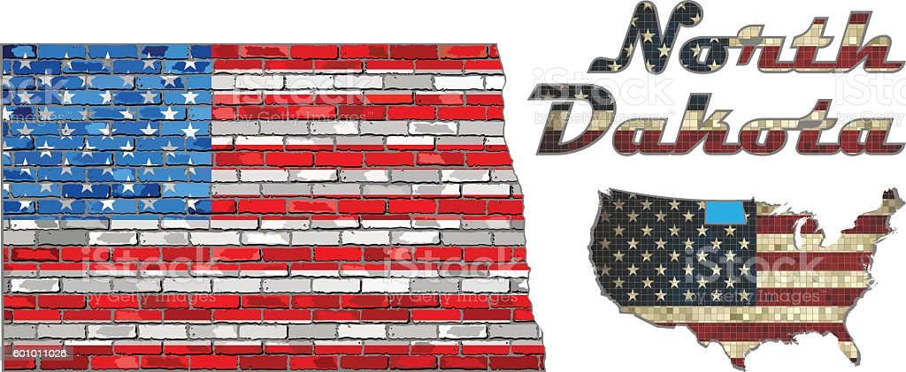 USA state of North Dakota on a brick wall vector art illustration
