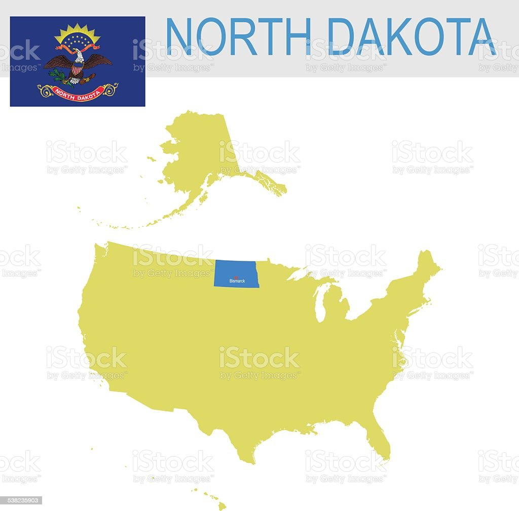 USA state Of North Dakota's map and Flag vector art illustration