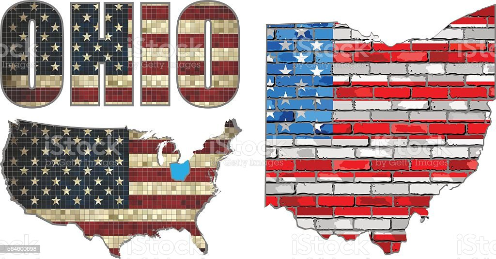 USA state of Ohio on a brick wall vector art illustration