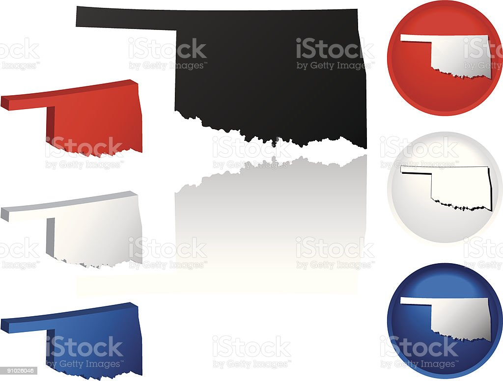 State of Oklahoma Icons vector art illustration