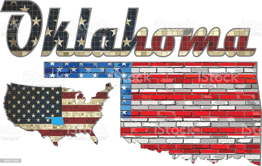 USA state of Oklahoma on a brick wall vector art illustration