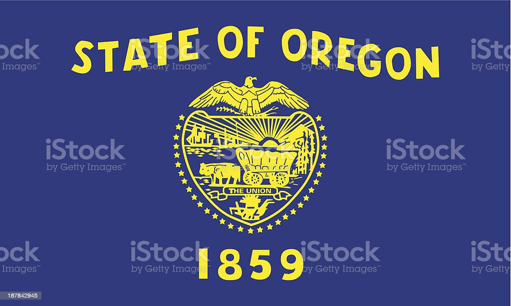 State of Oregon flag in blue and yellow vector art illustration
