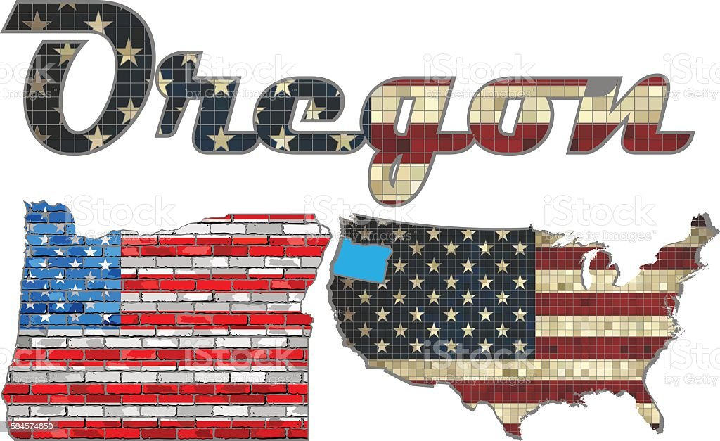USA state of Oregon on a brick wall vector art illustration