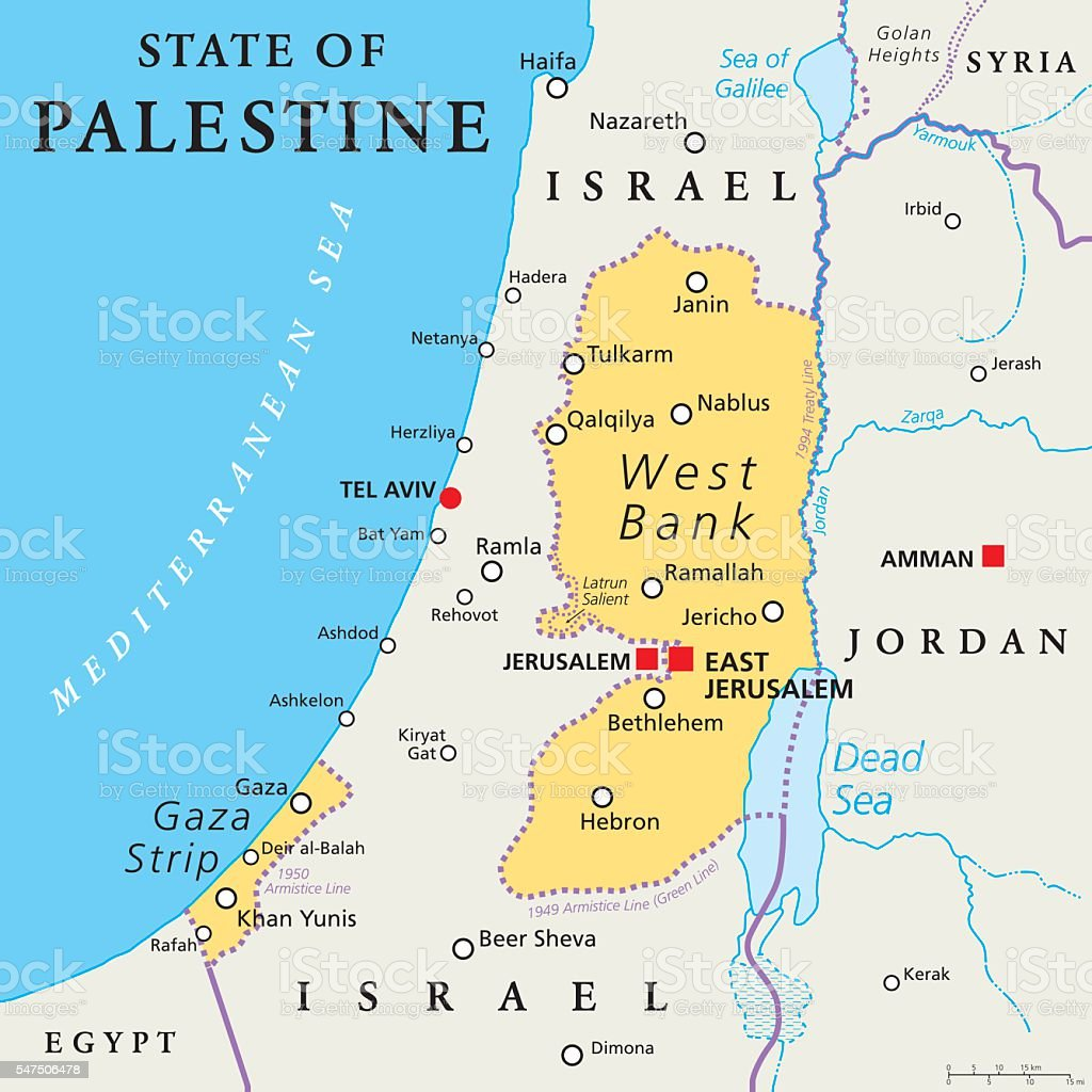 State of Palestine. West Bank and Gaza Strip Political Map vector art illustration