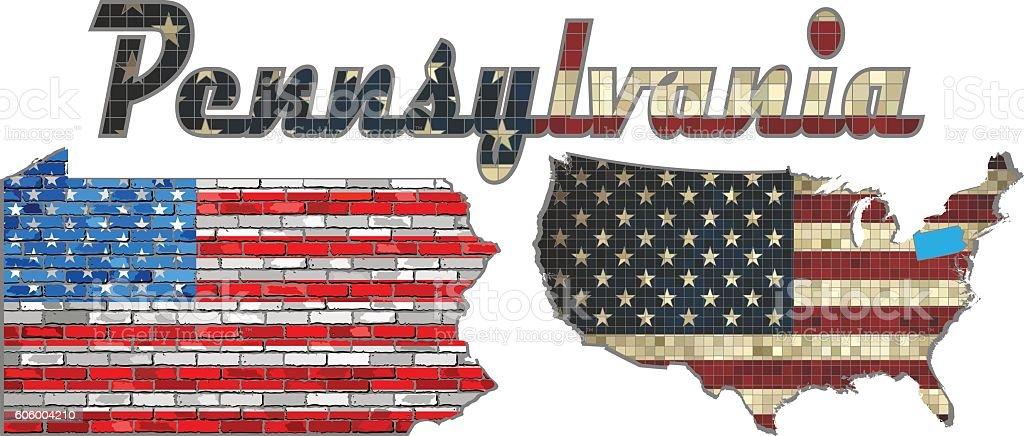 USA state of Pennsylvania on a brick wall vector art illustration