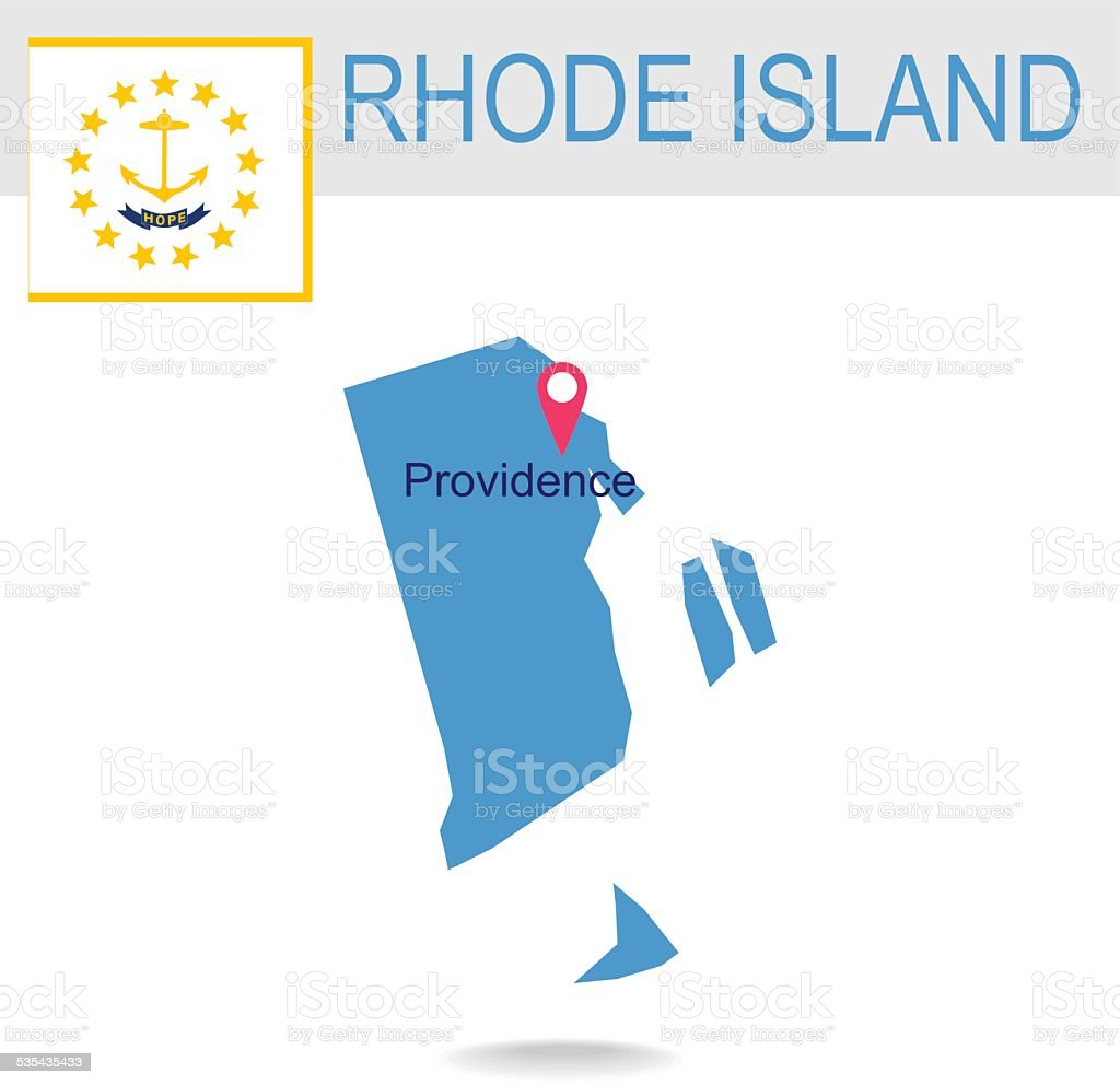 Usa State Of Rhode Islands Map And Flag Stock Vector Art - Rhode island in usa map