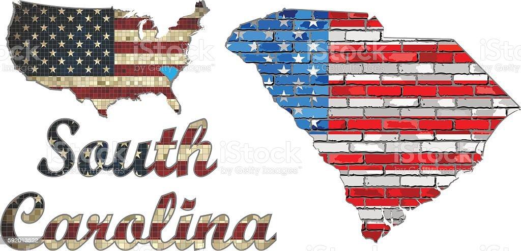 USA state of South Carolina on a brick wall vector art illustration