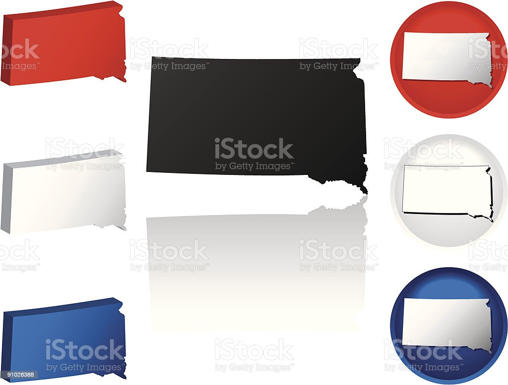 State of South Dakota Icons royalty-free stock vector art