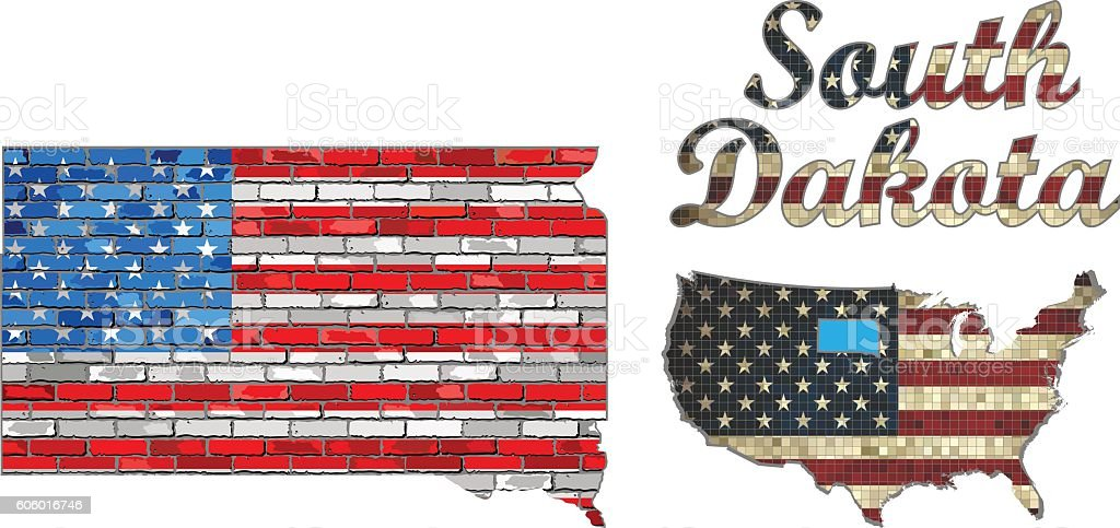 USA state of South Dakota on a brick wall vector art illustration
