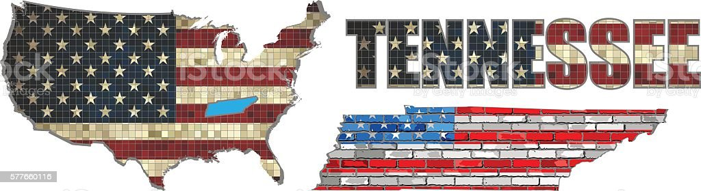 USA state of Tennessee on a brick wall vector art illustration