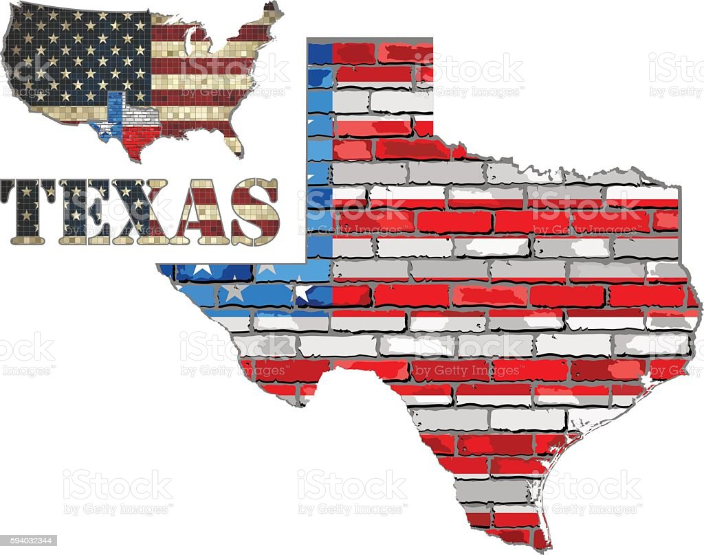 USA state of Texas on a brick wall vector art illustration