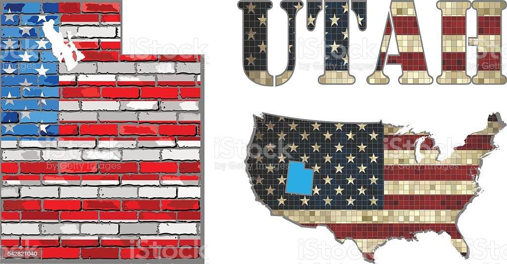 USA state of Utah on a brick wall vector art illustration