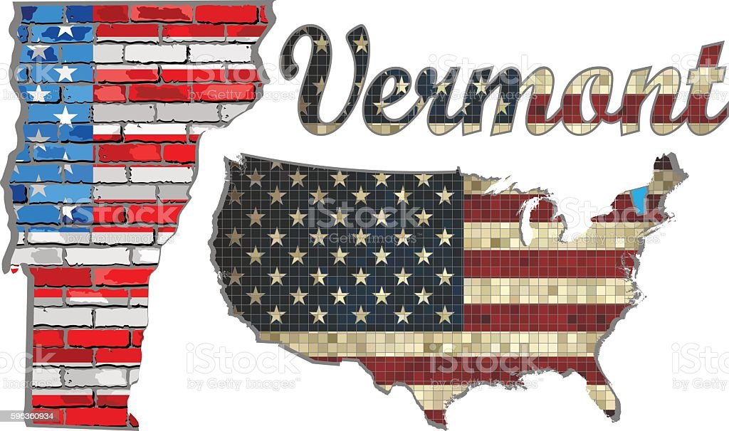 USA state of Vermont on a brick wall vector art illustration