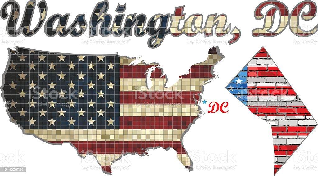 USA state of Washington, D.C. on a brick wall vector art illustration