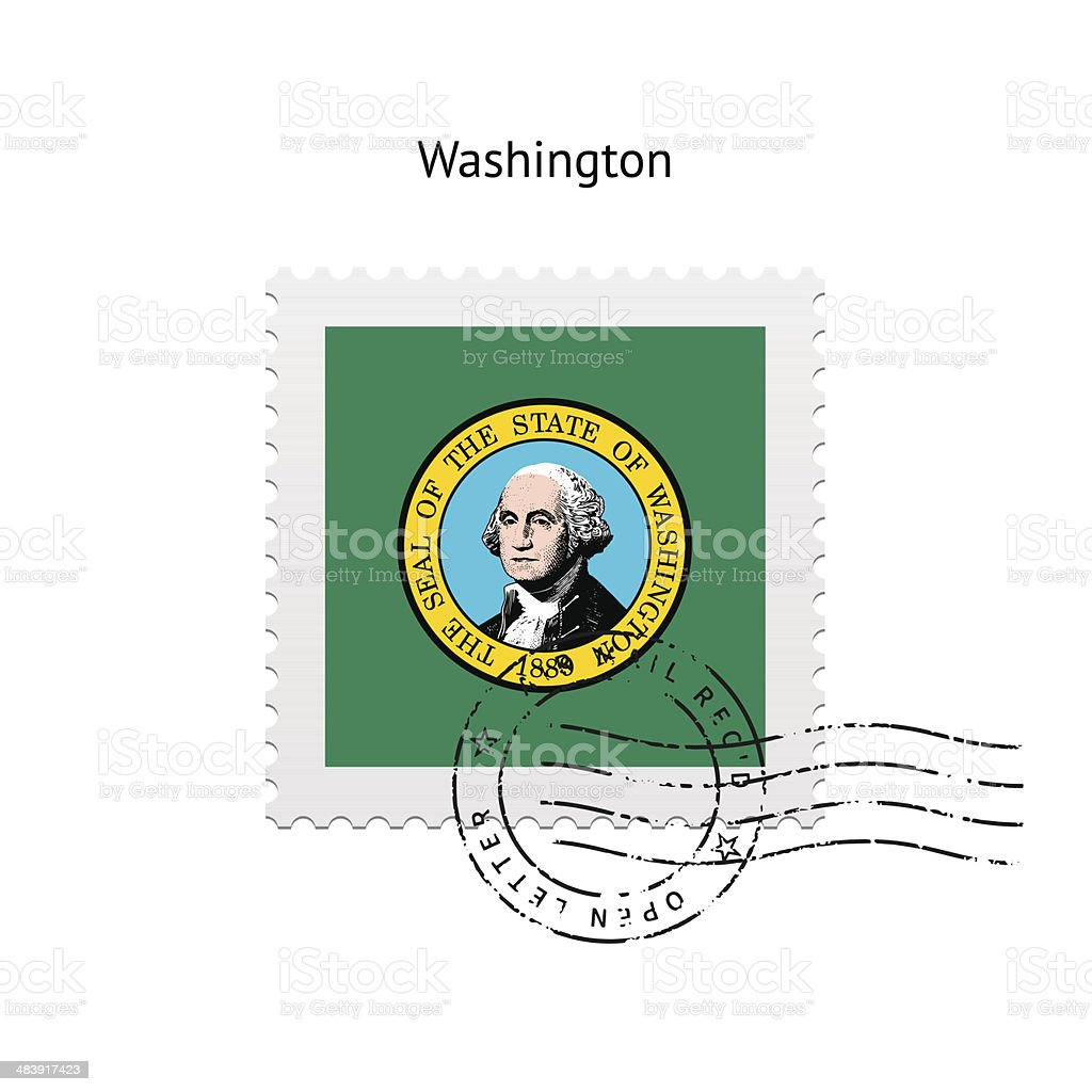 State of Washington flag postage stamp. vector art illustration