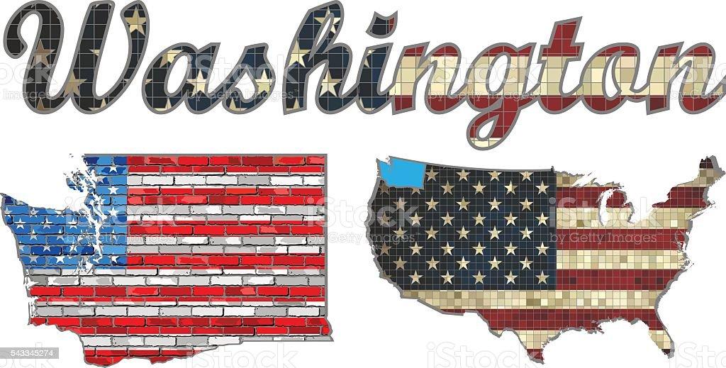 USA state of Washington on a brick wall vector art illustration