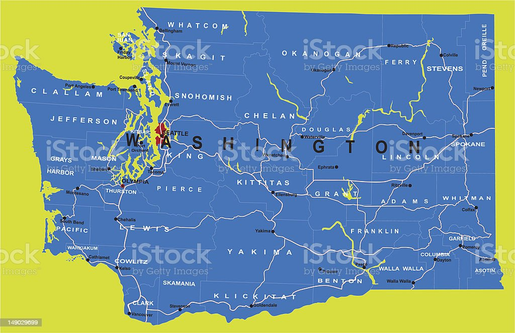State of Washington political map royalty-free stock vector art