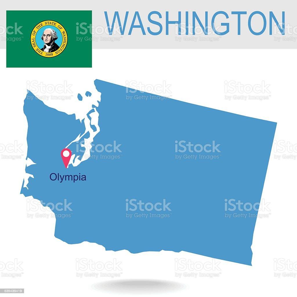 USA state Of Washington's map and Flag vector art illustration