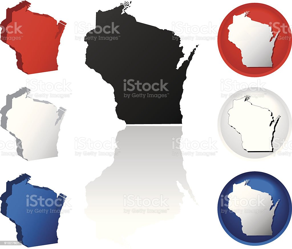 State of Wisconsin Icons vector art illustration